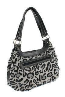 Nine West Gray Animal Print Embossed Front Tote Handbag Medium BHFO
