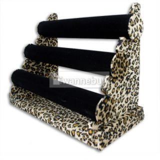 Jewelry 3 Tier Bar Bracelet Display Stand Velvet Leopard
