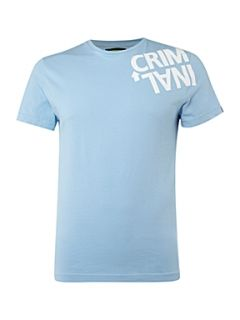 Criminal Twisted logo print crew neck T shirt Sky Blue