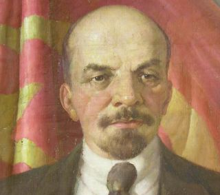 Big Oil 1950 Painting Lenin Banner Portrait Old Russian Realism