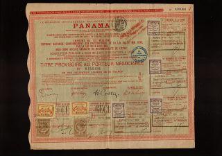 Canal Bond DD 1888 Ferd de Lesseps with 8 Tax Revenue Stamp