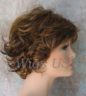 Wigs 3 Tone Brown Auburn Very Short Flip Curls Bangs Wig US Seller