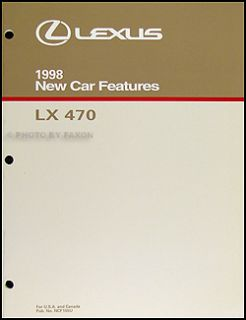 1998 Lexus LX 470 Features Service Training Manual 98 LX470 New