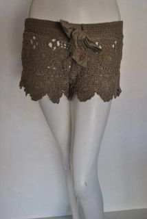 Letarte Womens Crochet Brown Taupe Shorts s $148 New