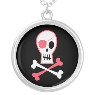 Pink Pirate Skull and Crossbones Necklace