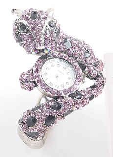 Crystal Animal Leopard Fashion Jewelry new Bracelet Bangle Watch B315