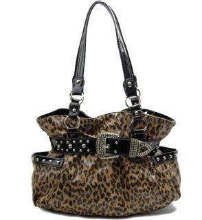 Animal Print Fashion Leopard Belted Studded Hobo Handbag Purse New