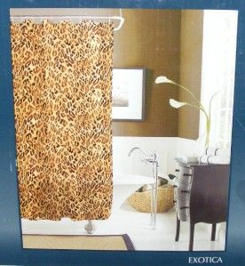 Morgan Leopard Exotica 5 16 PC Fabric Shower Curtain Hooks Towels Soap