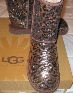 Uggs RARE Leopard Sequin Flip Sparkle Boots 7 New Genuine Free SHIP