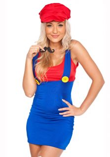 Ladies 80s Deluxe Super Mario Bros Fancy Dress Costume All Sizes 8 16