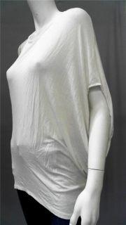David Lerner Misses L Knit Top White Solid One Shoulder Shirt Blouse