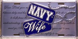 Aluminum Military License Plate Navy Wife New