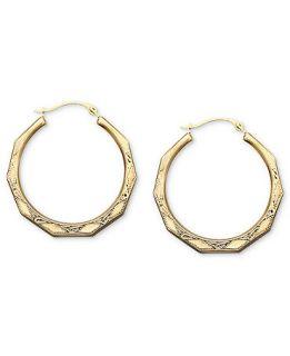 10k Gold Earrings, Engraved Hoop   Earrings   Jewelry & Watches