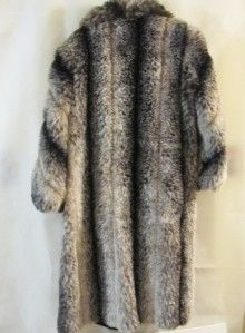 Lew Magram Collection Dark Brown Faux Raccoon Full Length Fur Coat 18