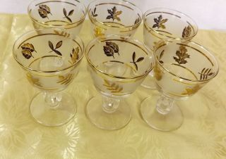Vintage –Retro  6 Libby Gold Leaf Sherbert Glasses*Footed Dessert