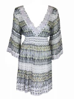 Letarte Womens Sequin Beaded Multi Accent Printed Cover Up Dress XS $