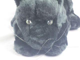 Black Plush Panther Cub Cat Lifelike Stuffed Animal Toy WOW 12