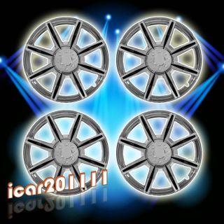 Spokes Chrome Black Insert Wheel Covers Hubcaps Center Hub Caps