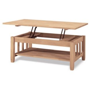 Tall Coffee Table with Lift Top Unfinished Solid Wood