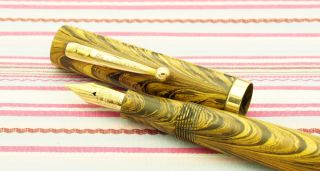 Vintage Waterman Ideal Olive Ripple 52v Fountain Pen