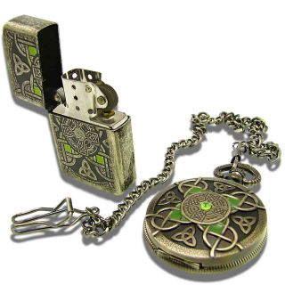 The Edge® Knotwork Irish Cross Lighter / Pocket Watch Set w Gift Tins