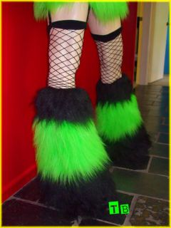Lime Black Furry Leg Warmers Fluffies Cyber Goth Rave