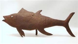 Signed Listed Georges Liautaud Haitian Vintage Metal Art Fish