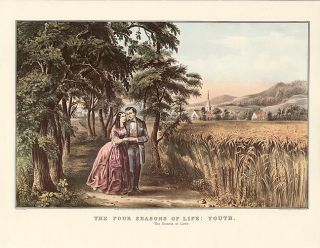 Currier Ives Vintage Print Four Seasons of Life Youth