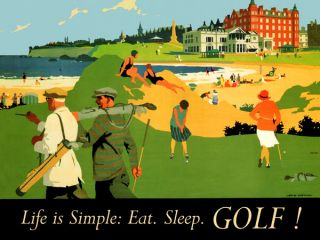 Life is Simple Eat Sleep Golf Sport Beach Small Vintage Poster Repro