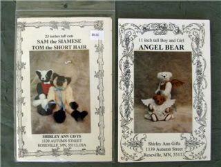 Large Lot 14 Teddy Bear Patterns Panda Siamese Cats Bunnies Angels Dog