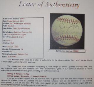 Ted Williams Fox 1971 Senators Team Autograph Baseball JSA LOA Auto BB