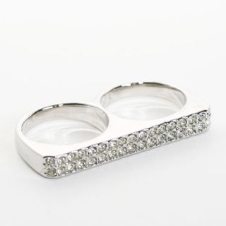 Two Line Swarovski Crystal Silver Bar Double Ring Size 8/Other Sz 6 7