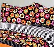 9P Full Comforter Black Pink Lime Orange Flowers N Dots Shams Sheets