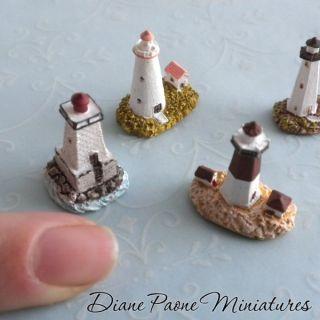 Lighthouse Collection 1   Set of 4   Dollhouse Miniature Decorative