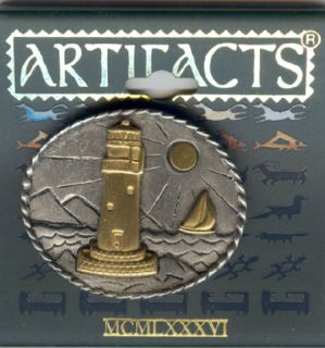 Dull Gold Lighthouse in Pewter Oval JJ Pin Gift Boxed