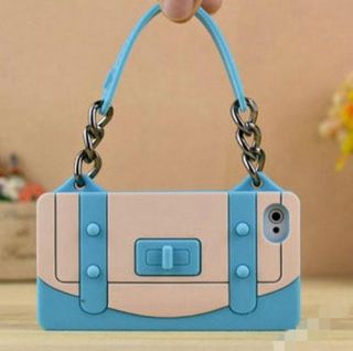 Light Blue Soft Silicone New Style Handbag Back Case Cover for iPhone