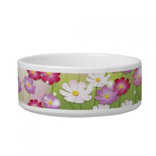 Cute Pink Flowers, Dragonflies Cat Food Bowls