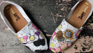 Custom Hand Painted Toms Tennis Margarita Cow Print Bling Shoes Women