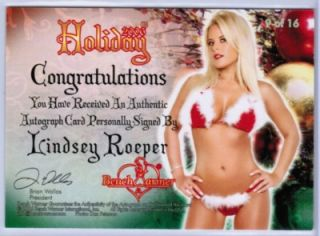 Lindsey Roeper 2006 Benchwarmer Holiday 38 50 Christmas Autograph Set