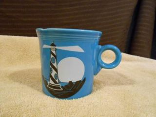 Homer Laughlin Fiesta Ware Blue Peacock Light House Coffee Cup Mug USA
