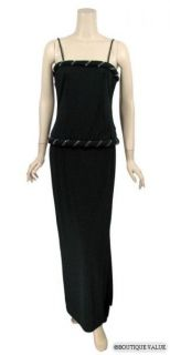 Lillie Rubin Black Rhinestones Evening Gown Dress Sz 8