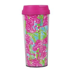 Lilly Pulitzer Coffee Tea Thermal Travel Mug Fan Dance