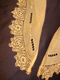 Antique Linen Handmade Irish Crochet Lace Collar Cuffs