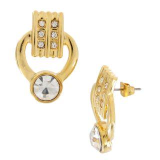 Rhinestone Gold Plated Deco Style Link Necklace Bracelet Set
