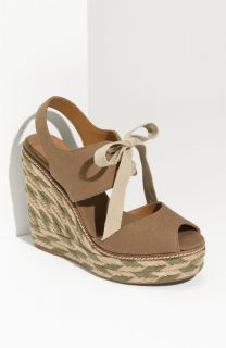 Tory Burch Linley Lace Up Mixed Media High Wedge Espadrille Tan Size