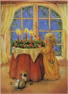 Lisi Martin   Artist Signed   Lighting the Christmas Candles. Post