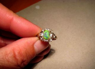 Superb Lime Green Opal Round Baguette Diamond Ring 14k Two Tone Gold