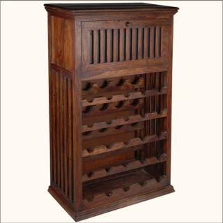 Solid Hardwood Wine Rack Liquor Storage Cabinet Bar Bottle Holder