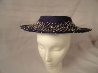 Ladies Wide Brim Flat Top Hat Silk Black w Beige Netting Church