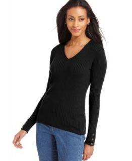 Karen Scott Petite Sweater, Long Sleeve Cable Knit Mock Turtleneck